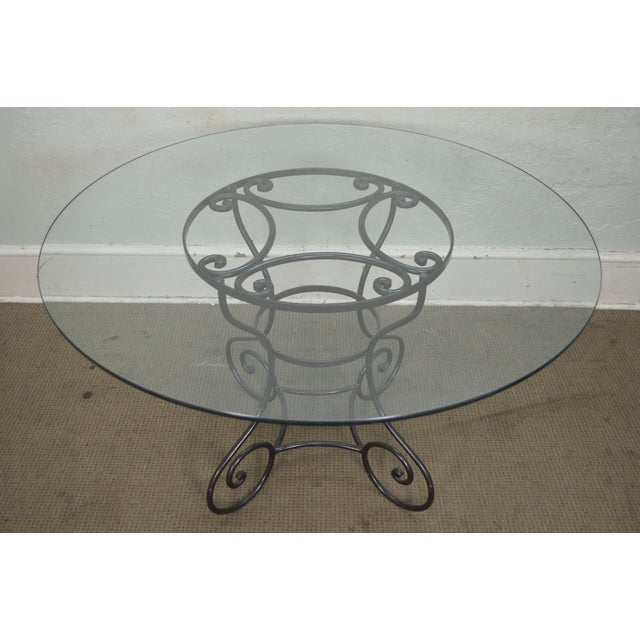 "1990s Custom Wrought Iron Base 48"" Round Glass Top Dining Table For Sale - Image 5 of 11"