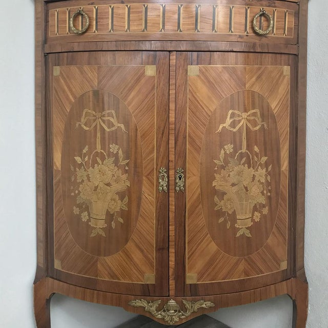 19th Century French Louis XVI Marquetry Marble Top Corner Cabinet For Sale - Image 9 of 13