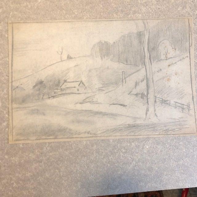 1930s Vintage Eliot Clark Kent, Connecticut Impressionist Inspired Landscape Drawing For Sale - Image 4 of 4