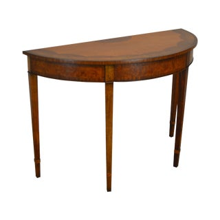 Southampton George III Style Inlaid Burlwood Demilune One Drawer Console Table For Sale