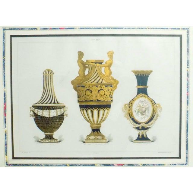 Blue 1899 Framed Porcelain Object Prints- A Pair For Sale - Image 8 of 10