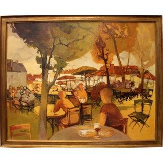 Paris Street Cafe in Autumn by Paris School Artist Eliane Thiollier For Sale