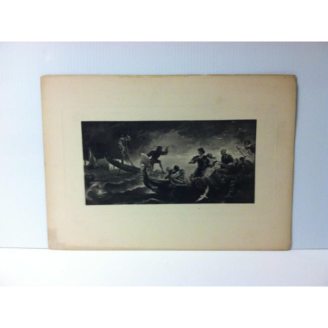 "Vintage Print on Paper, ""On the Water"" -- Artist Unknown, Circa 1900 For Sale - Image 4 of 4"