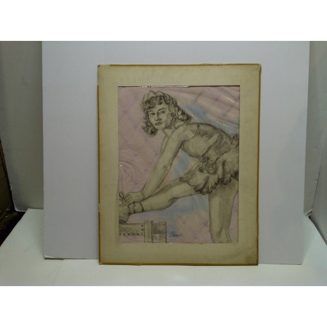 "Paper Tom Sturges Jr. ""Curtain Time"" Original Matted Drawing For Sale - Image 7 of 7"