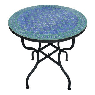 Blue & Green Rafraf Moroccan Mosaic Table For Sale