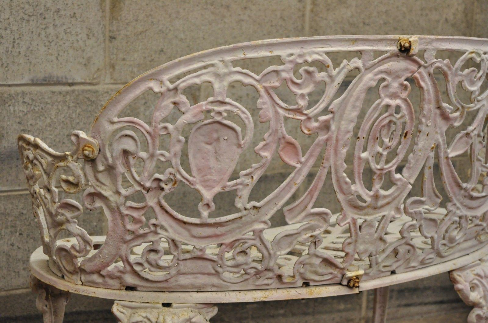 Antique Cast Iron Victorian Small Garden Bench French Regency Neoclassical  Style For Sale   Image 11