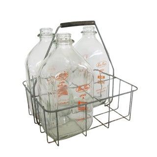 Antique Silver Metal Milk Bottle Holder Carrier Crate with 3 Farm Fresh Glass Milk Jugs