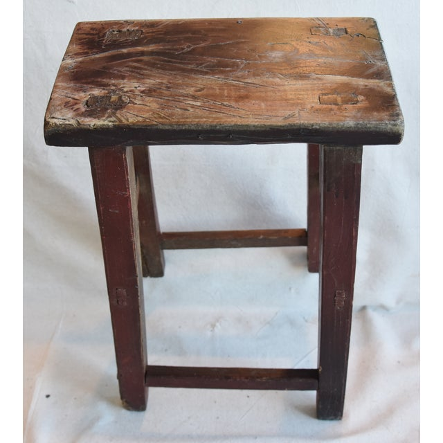 Wood Rustic Primitive Country Wood Farmhouse Stool For Sale - Image 7 of 9