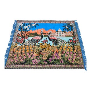 """Vintage Peacock Themed Tapestry. Wall Rug - 4' X 5'2"""" For Sale"""