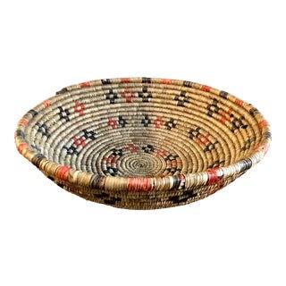 Vintage Natural Sweet Grass Woven Basket For Sale
