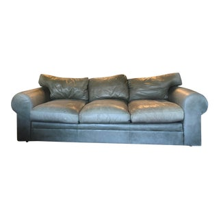 Ralph Lauren Taupe Leather Rolled Arm Sofa For Sale