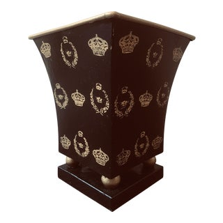 Vintage French Black and Gold Toile Ware Cachepot For Sale