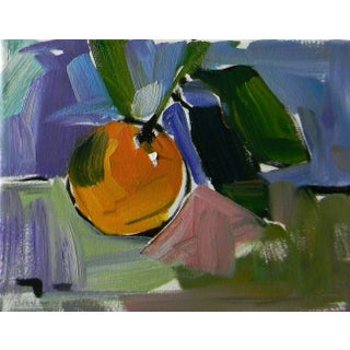 Jose Trujillo Impressionism Impasto Study Single Orange Fruit Oil Painting For Sale