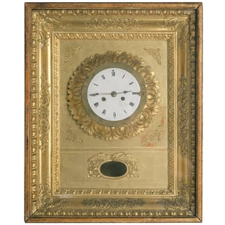19th Century French Gilt Wall Clock For Sale
