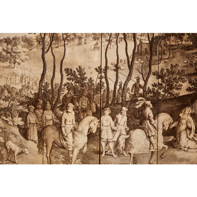 Lacquer Four-Panel Screen in the Manner of Fornasetti For Sale - Image 7 of 9