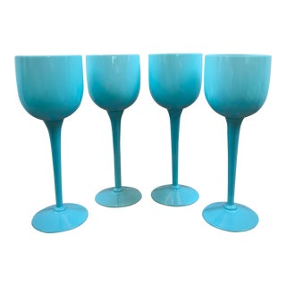 Vintage Portieux Vallerysthal Blue Opaline Long Stem Wine Glasses - Set of 4 For Sale