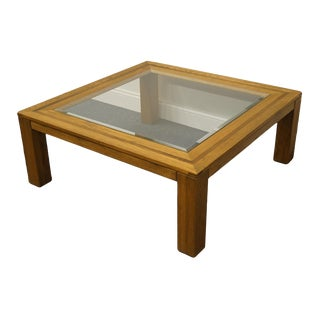 """Conant Ball Contemporary Modern Style 38x38"""" Square Glass Top Accent Coffee Table For Sale"""