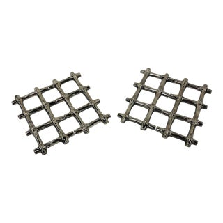 Late 20th Century Faux Bamboo Expanding Trivets - a Pair For Sale