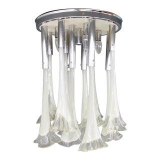 Venini Murano Glass Flush Mount Chandelier, Italy, Circa 1970s For Sale