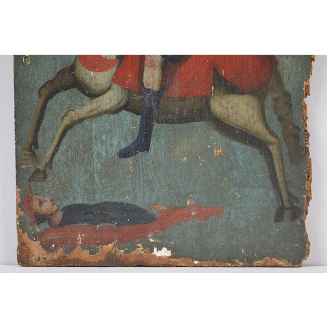 Wood 18th Century Spanish Colonial Folk Retablo of St. James the Moor-Slayer For Sale - Image 7 of 13
