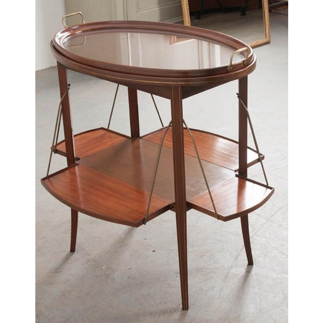 French French Early 20th Century Oval Mahogany Tea Table For Sale - Image 3 of 13