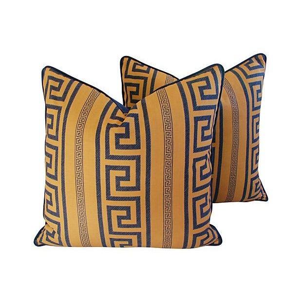 Designer Pierre Frey Greek Key Pillows - a Pair - Image 1 of 8