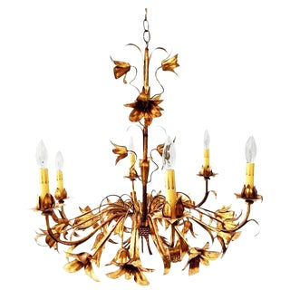 Gold Gilt Italian Tole Lily Six-Light Chandelier For Sale