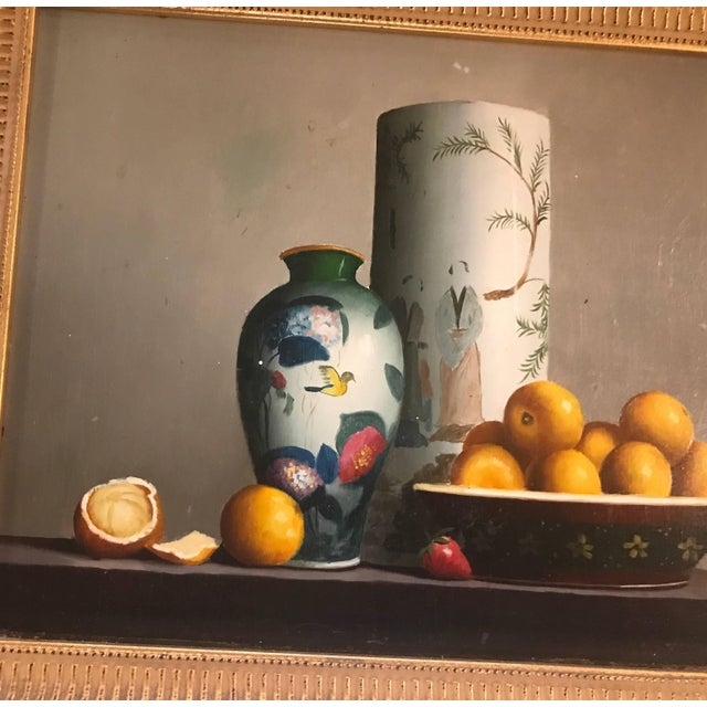 Asian Pair of Diminutive Still Life Continental Oil Paintings on Board For Sale - Image 3 of 9