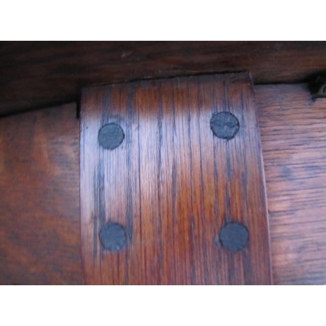 L. & J.G. Stickley, Inc. 1900s Mission L&jG Stickley Round Leather Top Center Table For Sale - Image 4 of 13