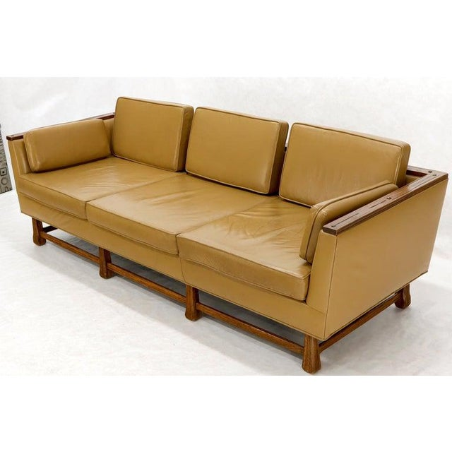Mid-Century Modern Tan Leather Oak Frame Sofa by Ranch Oak For Sale - Image 6 of 13