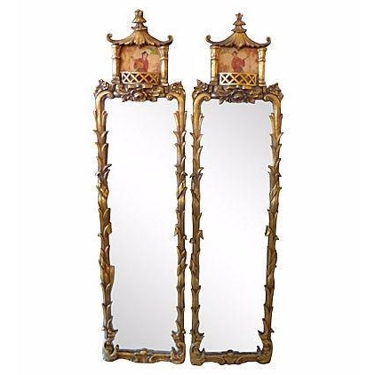 Carved Wood Asian Motif Mirrors - A Pair - Image 1 of 5