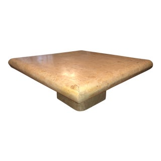 1970s Organic Modern Tesselated Fossilized Stone Coffee Table Karl Springer Style For Sale