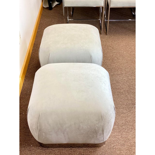 Weiman 1980s Weiman Reupholstered Souffle Poufs - a Pair For Sale - Image 4 of 8