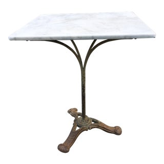 20th Century French Marble Bistro Table With Foliate Cast Iron Base For Sale