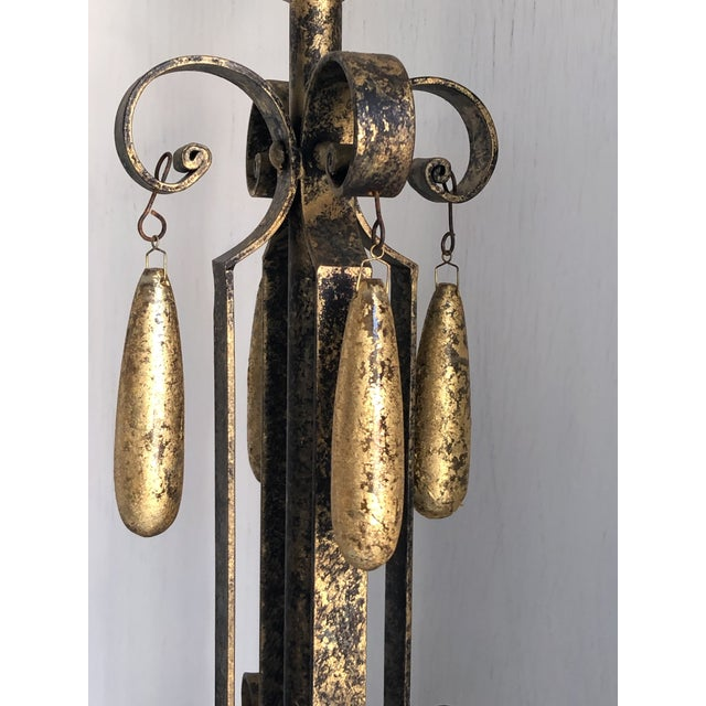 2010s Gold Brushed Metal Lamps With Four Hanging Brushed Gold Fobs - a Pair For Sale - Image 5 of 8