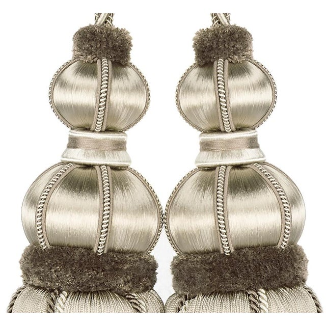 """Taupe Double Tassel Tieback With Cut Ruche- Height 17"""" For Sale - Image 4 of 6"""