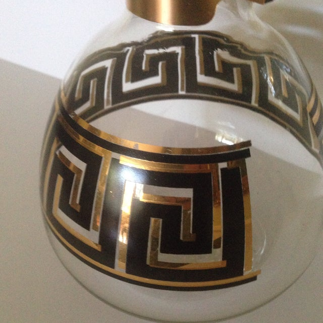 Gold Mid-Century Greek Key Glass Coffee Carafe For Sale - Image 8 of 11