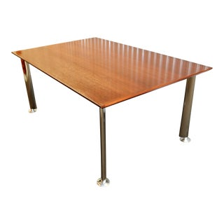 "Modern Steelcase Walnut Top 68"" Rectangular Conference/Dining Table For Sale"