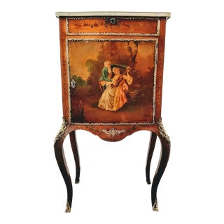 Antique French Rococo Ormolu Vernis Martin Jewelry Vitrine Painted by Ch. Olivier For Sale