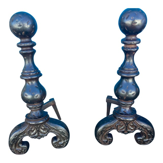 1940s Baroque Black Finish Fireplace Andirons - a Pair For Sale