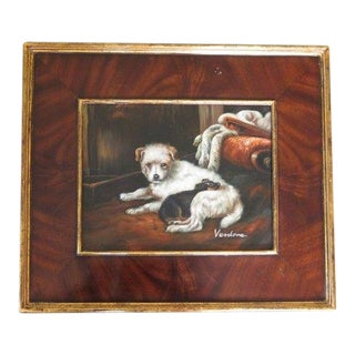 """""""Puppy Dogs"""" Oil Painting on Board in Burl Walnut Frame Artist Signed For Sale"""