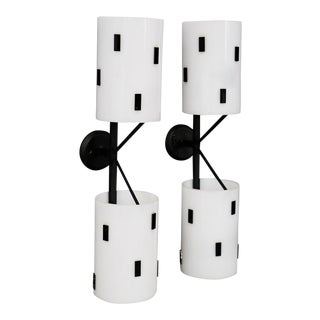 Pair of Mid-Century Italian Wall Sconces in Black and White Perspex, 1950s For Sale