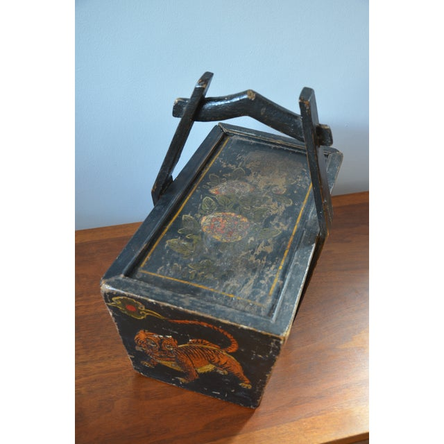 Antique Hand Painted Chinese Wooden Rice Box With Tiger & Dragon For Sale - Image 10 of 13