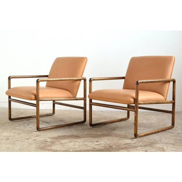 Brickel Associates Pair of Ward Bennett Lounge Chairs by Brickel For Sale - Image 4 of 10