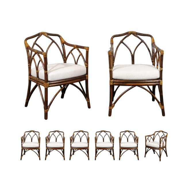 Chic Restored Set of 8 Modern Arm Dining Chairs by McGuire, circa 1975 For Sale - Image 13 of 13