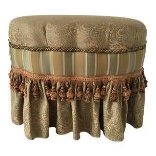 Modern Oval Scalloped Fringed Ottoman Footstool For Sale