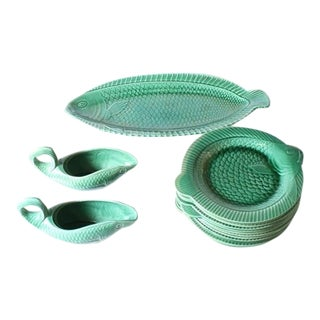 Set of 15 Green Ceramic Fish Dishes, C. 1950