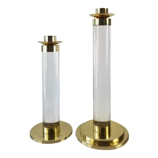 Karl Springer Style Italian Lucite and Brass Candle Holders - a Pair For Sale