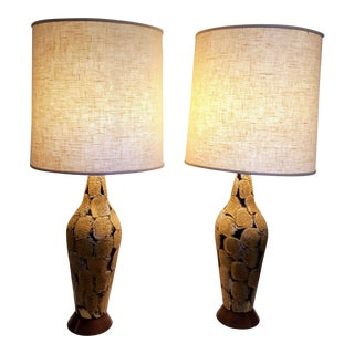 1960s Modernist Textured Ceramic Table Lamps - A Pair