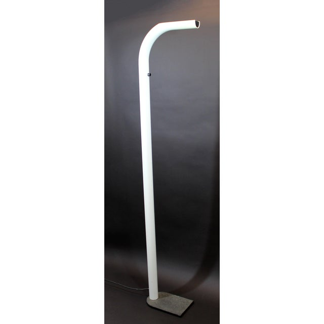 Metal Mid Century Modern White Lacquer Metal Halogen Oca Floor Lamp By Eleusi Italy For Sale - Image 7 of 7